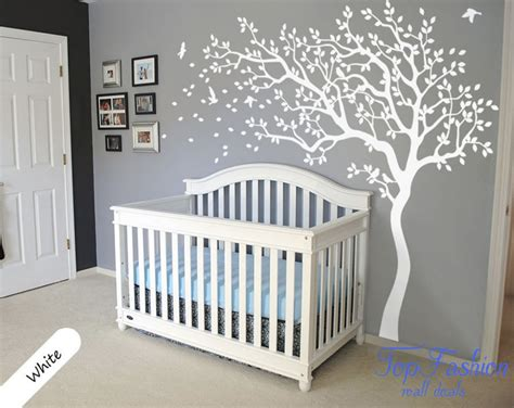 Huge White Tree Wall Decal Nursery Tree And Birds Wall Art White Wall Decals For Nursery