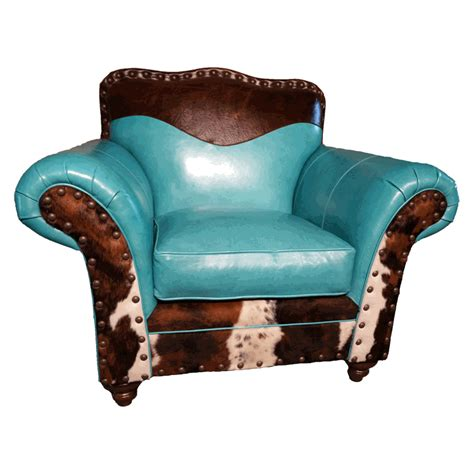 Turquoise leather amp cowhide club chair