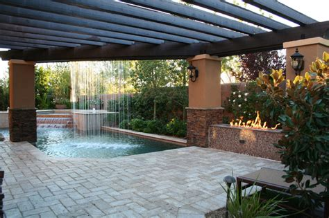 pool spa with rainfall mediterranean patio las