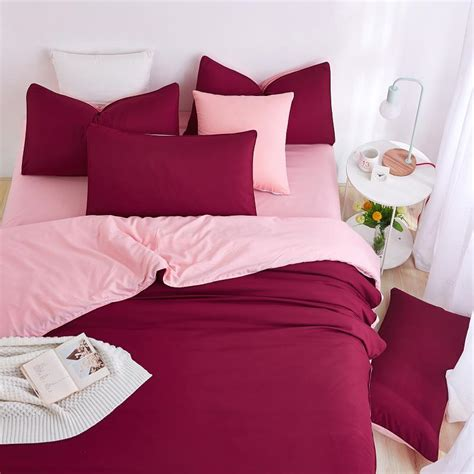 unikea 2016 new minimalist bedding sets red wine color