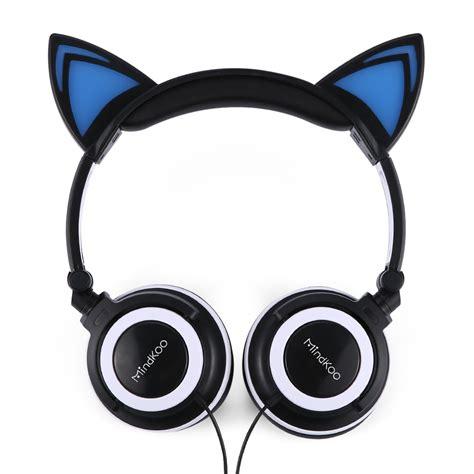 mindkoo earphone cat ear foldable led glowing lights