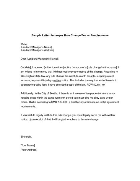Letter Increase Rent Sle Rent Increase Letter Template Best Business Template