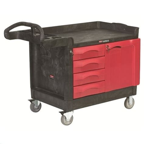 rubbermaid trademaster cart with cabinet rubbermaid fg453388bla trademaster cart with 4 drawer and ca