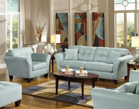 Light Blue Fabric Modern Sofa Loveseat Set W Wood Legs Light Furniture For Living Room