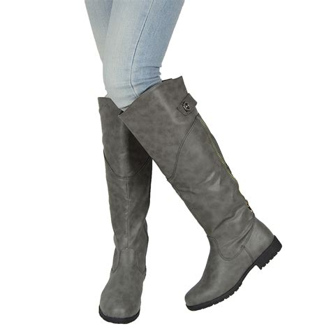 gray boots womens chunky heel the knee button accent