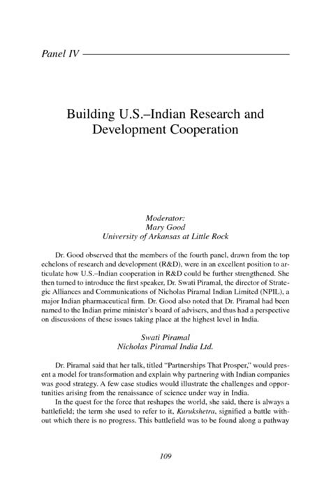 Research Cooperation Letter Panel Iv Building U S Indian Research And Development Cooperation India S Changing