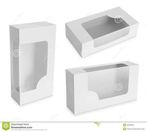 cardboard box with a transparent plastic window stock