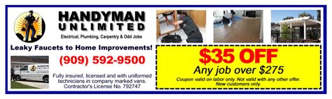 coupons handyman unlimited