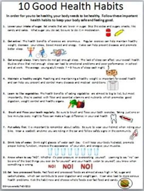 Grade 1 Habits Worksheet Kidschoolz 10 Health Habits Health And Worksheets