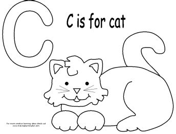 C Is For Cat Coloring Page free for june 2012