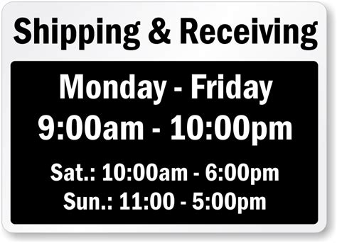 Shipping And Receiving Signs Mysafetysign Com Trading Hours Template Free