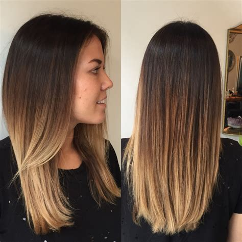 balayage ombre to light brown to hair color