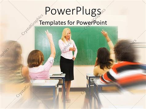 Powerpoint Template A Pretty Blond Teacher In A Classroom With Some Students 10686 Powerpoint Templates For Students