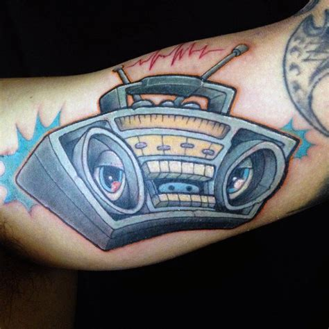 New School Boombox Tattoo | 40 boombox tattoo designs for men retro ink ideas
