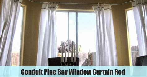 how to hang bay window curtain rods restoration conduit pipe bay window curtain rod