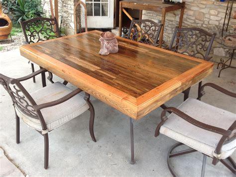 patio tabletop   reclaimed deck wood  steps