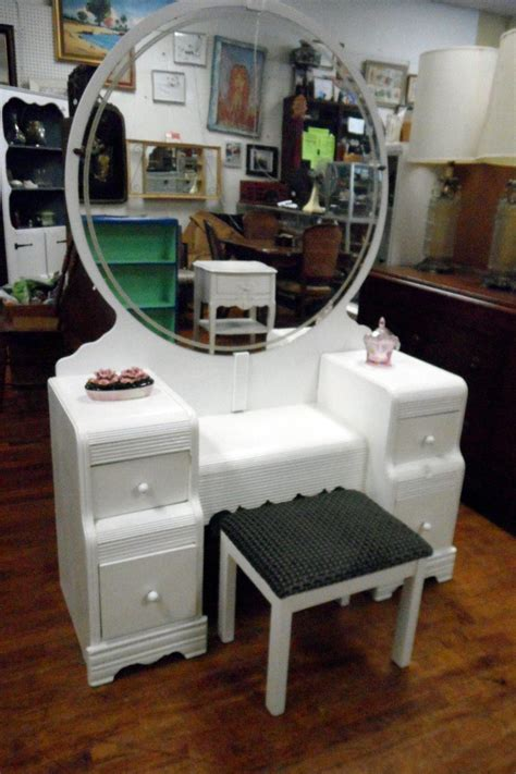 Antique Deco Bedroom Furniture Waterfall Hardware Bathroom Vanity Set Sets By Tri Bond Vintage Deco White Waterfall Vanity Set Flea Pop Deco 1920 S 1940 S