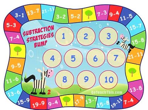 subtraction printable board games subtraction games printable subtraction strategy games