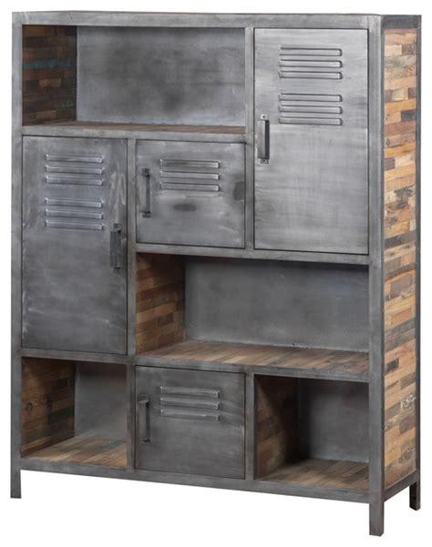 industrial metal and recycled wood bookcase industrial