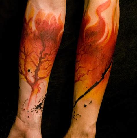 lippo tattoo burning tree forearm by lippo tattoos