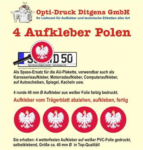 Aufkleber Bestellen Polen by 4 X Nummernschild Aufkleber Polen Polska Au Ersatz