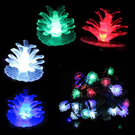 buy solar pine cone shaped string light 30 led outdoor