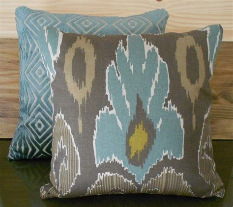Teal And Brown Decorative Pillows Ikat Decorative Pillow Cover Spa Teal Blue Brown And