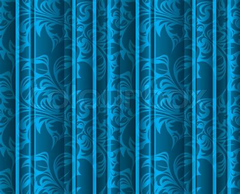seamless curtain wall seamless floral texture on the blue curtains stock photo