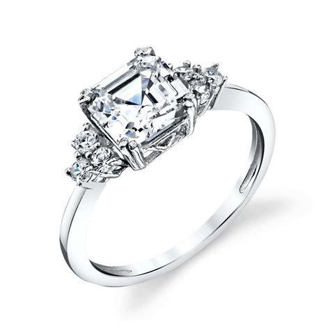 Sterling Silver Bridal Asscher Cut CZ Engagement Wedding
