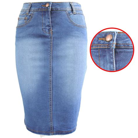 new denim blue pencil skirt midi knee length