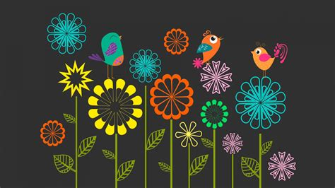 colorful vector flowers birds wallpapers hd wallpapers