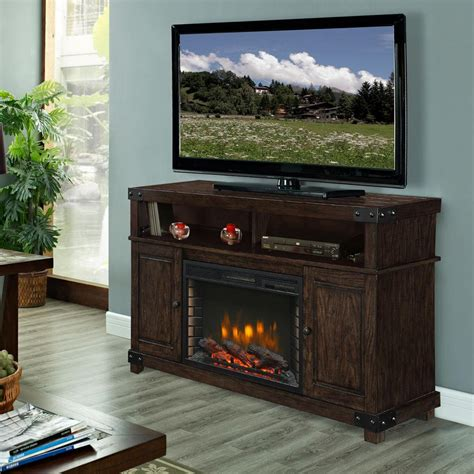 Rustic Electric Fireplace Muskoka Hudson 53 In Media Electric Fireplace In Rustic Brown 370 161 99 The Home Depot