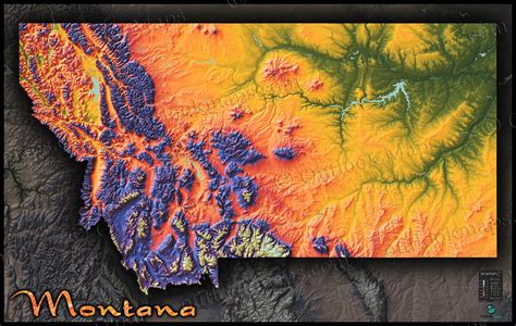 geographical map of montana montana topography map physical style with colorful
