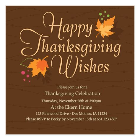 thanksgiving card templates for business autumn leaves thanksgiving invitations cards on pingg