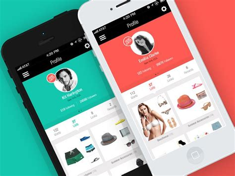 network design app flat profile for social fashion network ios app by