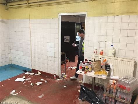 in the changing room arsenal leave sutton united s away dressing room in a mess daily mail