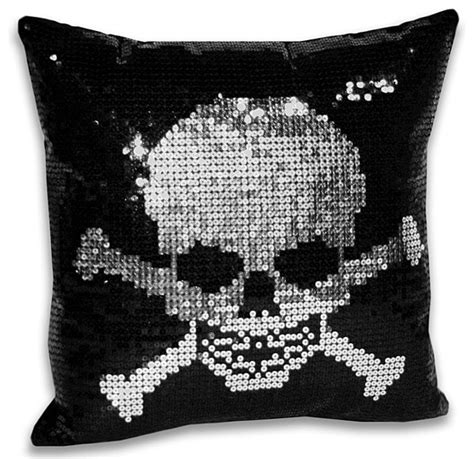Sequin Decorative Pillows by Sequin Skull And Crossbone Decorative Pillow Modern