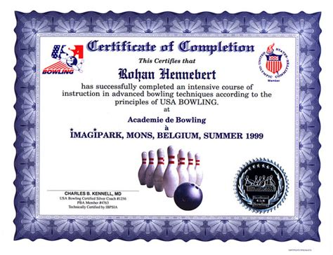 Bowling Certificate Template by Bowling Awards Gifts