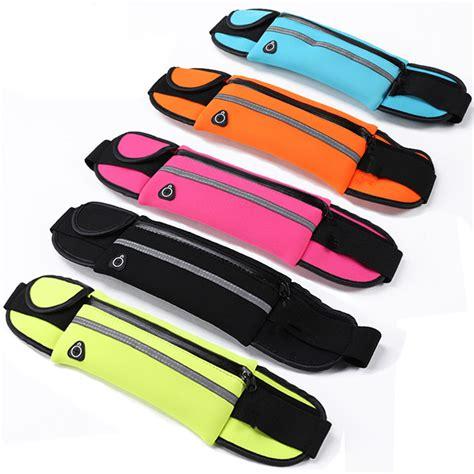 Waterproof Sports Belt With 4 Pockets Hitam Kecil universal less than 6 inch waterproof sports running waist
