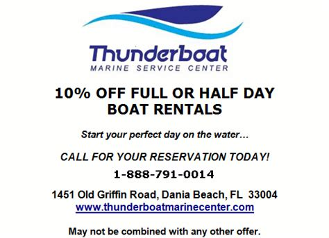 boat rental miami coupon thunderboat marine boat rentals discount coupon