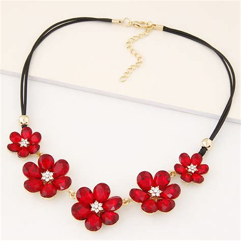 0203d1 Kalung Korea Choker Decorated fashion three flowers decorated layer design alloy bib necklaces asujewelry
