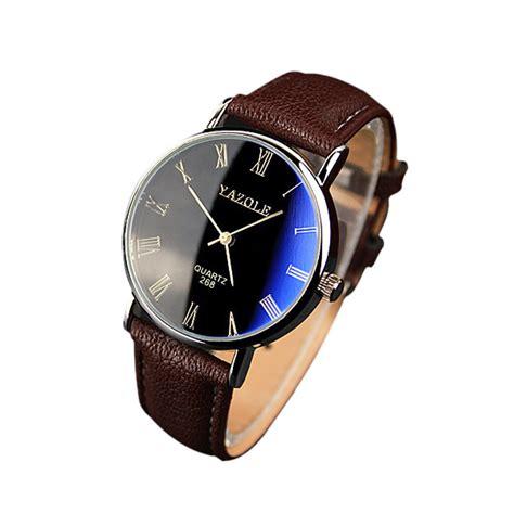 luxury faux leather quartz analog brown mens