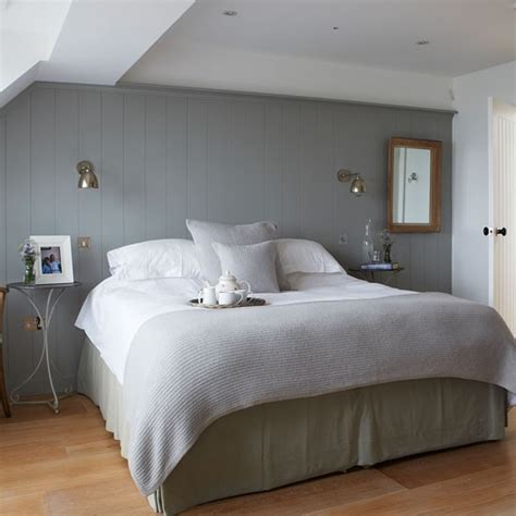 modern country bedroom restful grey bedroom with country panelling west sussex