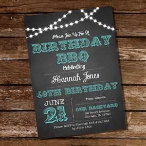 chalkboard bbq birthday invitation 16th 20th 21st 25th