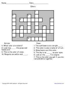 color crossword clue colors crossword puzzle lesson plans worksheets