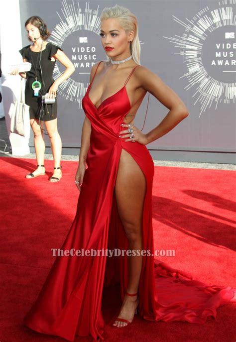 Vma Red Carpet Photos by Rita Ora Red Backless Evening Dress Vmas 2014 Red
