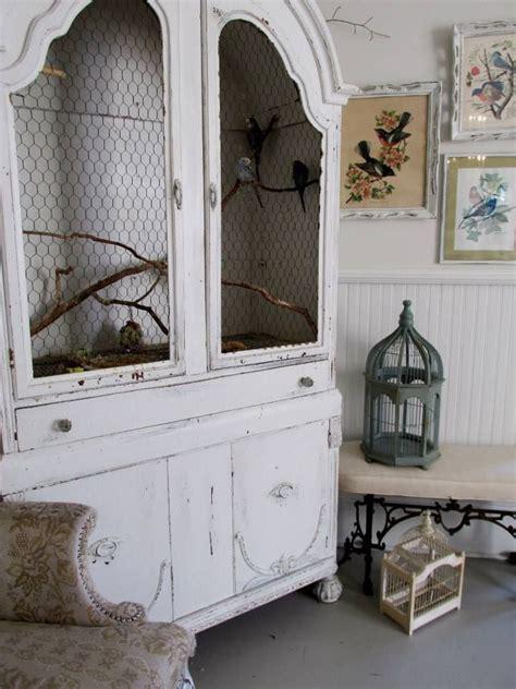 repurposed bird cages in home decor furnish burnish armoire repurposed as a bird cage for real pet birds decoist