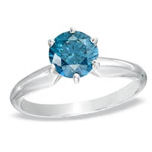 Ct enhanced blue diamond solitaire engagement ring in 14k white gold