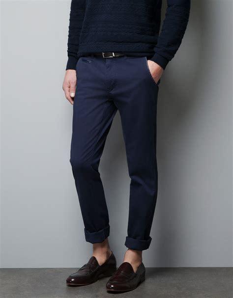 Bo Premium Zara Basic Crop zara basic chinos in blue for lyst