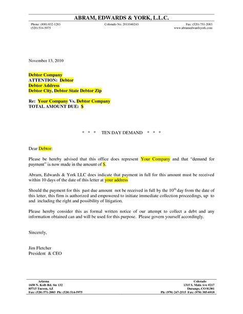 demand payment letter template best photos of formal letter of demand demand
